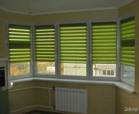 Рулонные шторы день-ночь зеленого цвета