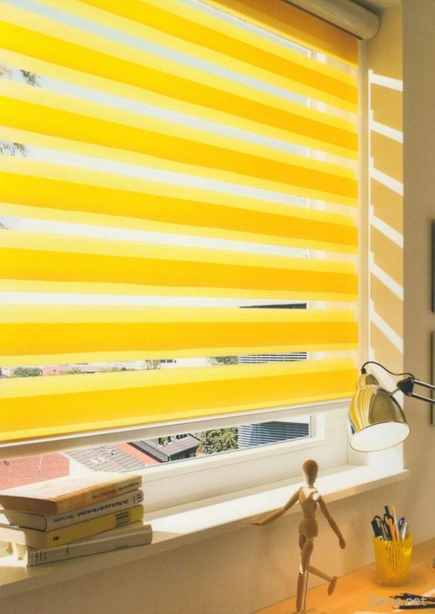 Рулонные шторы день-ночь желтого цвета