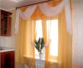 Фото: шторы для кухни с ламбрикеном