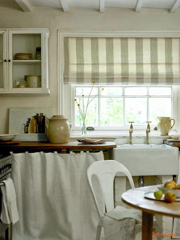 Римская штора на кухне - фотография