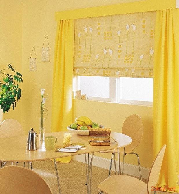 Желтая римская штора на кухню - фото