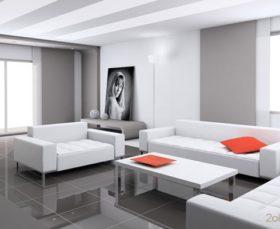 Тканевые ролеты в помещении в стиле хай-тек