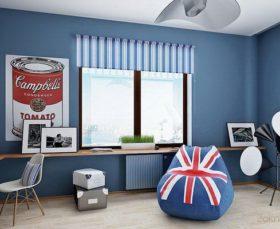 Фото - тканевые ролеты в помещении в стиле поп-арт