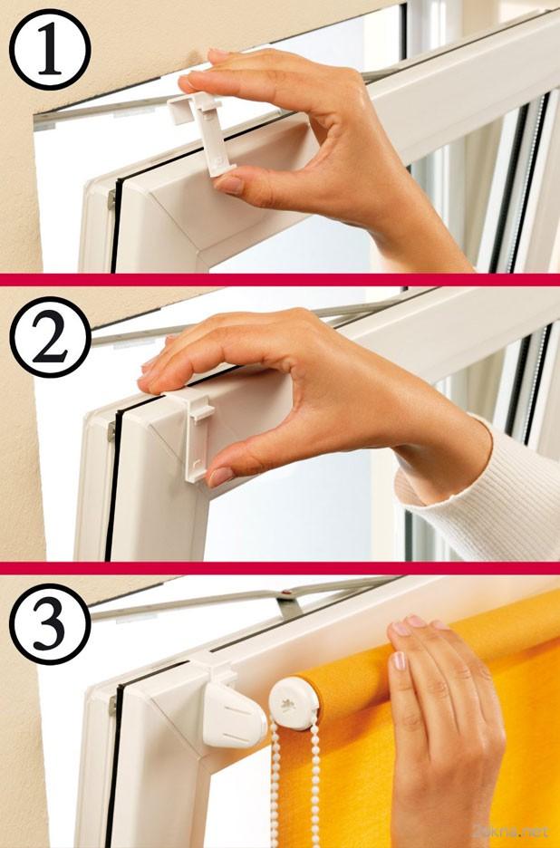 Крепления рольштор на пластиковые окна при помощи Г-образных крючков