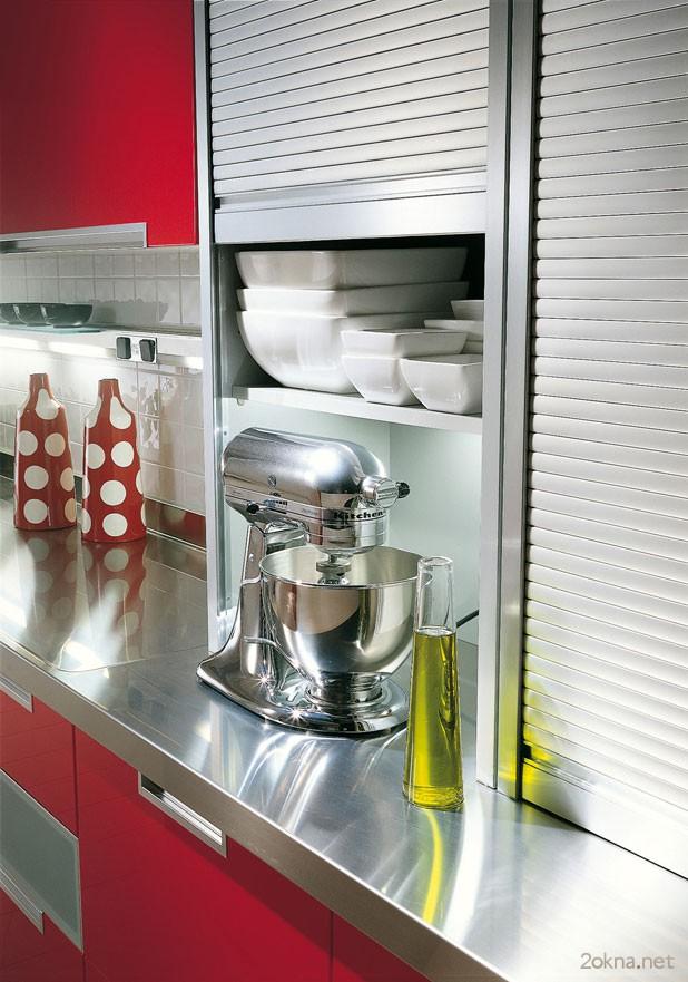 Рольставни для шкафа на кухне - фото