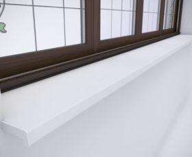 Белый ПФХ подоконник для пластиковых окон
