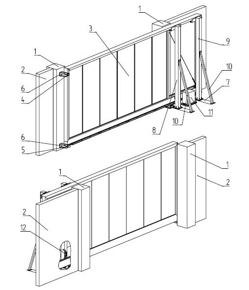 Конструкция откатных ворот Алютех