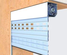 Встроенный монтаж рулонных ворот коробом внутрь