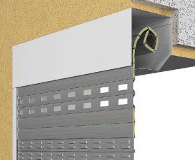 Комбинированный монтаж рулонных ворот коробом внутрь